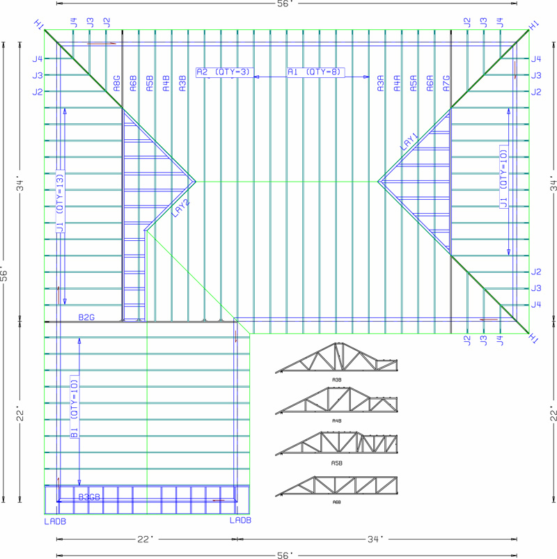 How to design a simple roof truss joy studio design for Truss layout plan